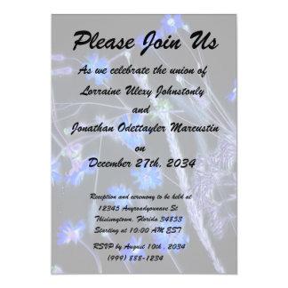 "Blue Black wildflower scan design 5"" X 7"" Invitation Card"