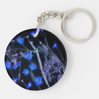 Blue Black wildflower scan design Keychain
