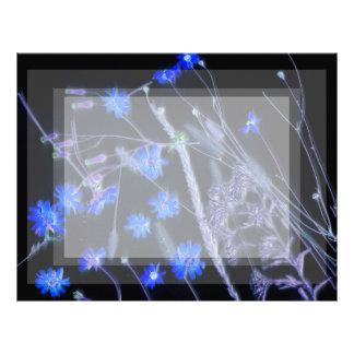 Blue Black wildflower scan design Letterhead