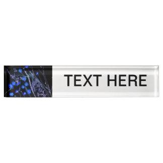 Blue Black wildflower scan design Nameplate