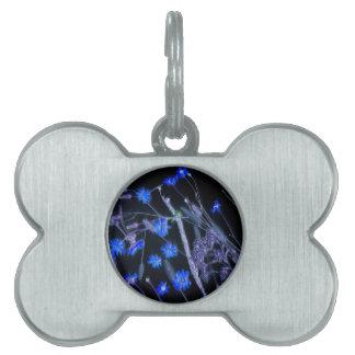 Blue Black wildflower scan design Pet Tag