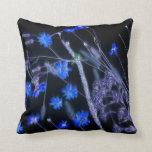 Blue Black wildflower scan design Pillows