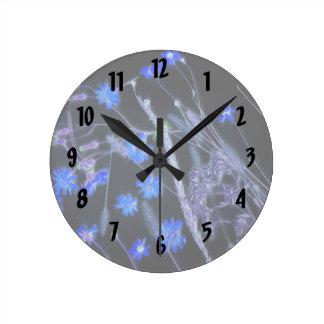 Blue Black wildflower scan design Round Clock