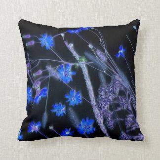 Blue Black wildflower scan design Throw Pillow