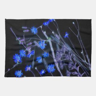 Blue Black wildflower scan design Towels