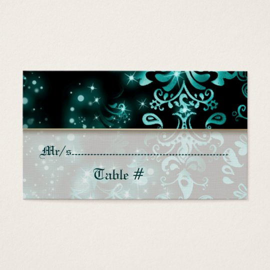 Blue black winter wedding party business card