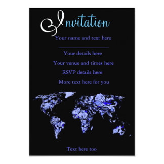 Blue black world map card