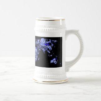 Blue black world map coffee mugs