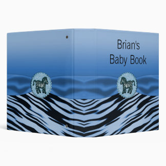Blue & Black Zebra Glitter Baby Shower Binder