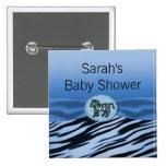 Blue & Black Zebra Glitter Baby Shower Buttons