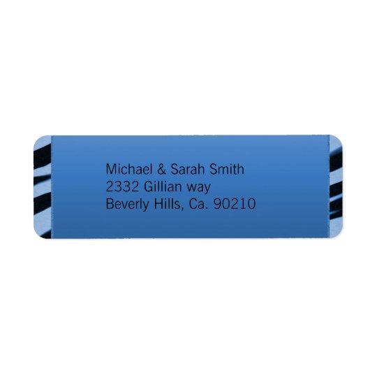 Blue & Black Zebra Glitter Baby Shower Label