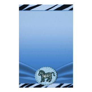 Blue & Black Zebra Glitter Baby Shower Stationery