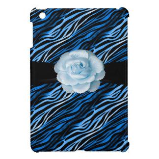 Blue Black Zebra Print Rose iPad Mini Case For The iPad Mini