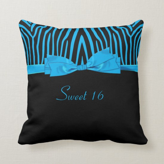 Blue Black Zebra Printed Bow Sweet 16 Throw Pillow