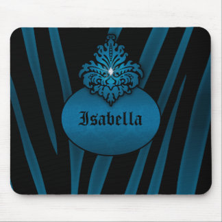 Blue Black Zebra Striped with Nameplate Mouse Pad