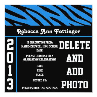 blue black zebra stripes graduation invitations