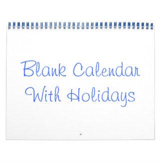 Blue Blank Calendar With Holidays