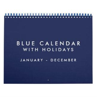 Blue Blank Calendar With Holidays 12 Months