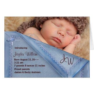 Blue Blanket Boy Photo Birth Annoncement Cards