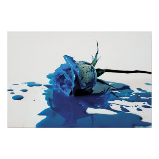 Blue Bleeding Rose Poster