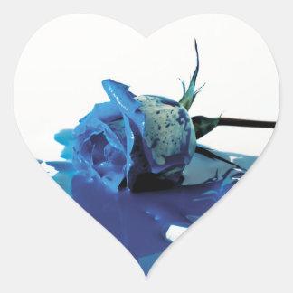 Blue Bleeding Rose Heart Sticker