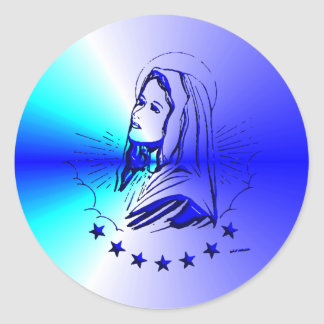 Blue Blessed Virgin Mary - Mother of God Classic Round Sticker