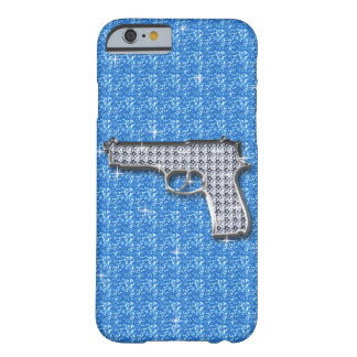 Blue Bling Glitter Gun Barely There iPhone 6 Case
