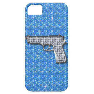 Blue Bling Glitter Gun iPhone 5 Cover