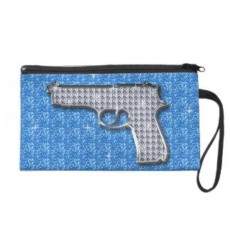 Blue Bling Glitter Gun On Blue Wristlet Clutches