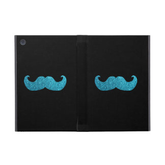 Blue Bling mustache  (Faux Glitter Graphic) Cases For iPad Mini
