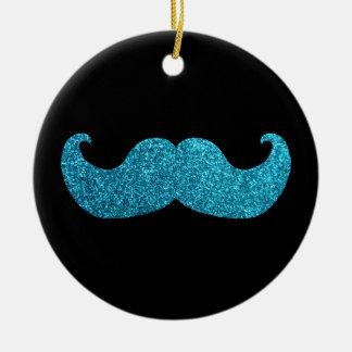 Blue Bling mustache  (Faux Glitter Graphic) Ceramic Ornament