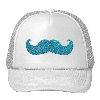 Blue Bling mustache  (Faux Glitter Graphic) Mesh Hat