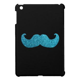 Blue Bling mustache  (Faux Glitter Graphic) iPad Mini Cover