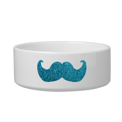 Blue Bling mustache  (Faux Glitter Graphic) Cat Water Bowls