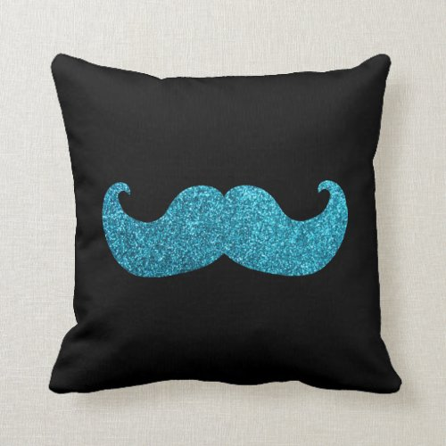 Blue Bling mustache (Faux Glitter Graphic) Throw Pillow