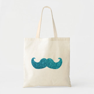 Blue Bling mustache  (Faux Glitter Graphic) Tote Bag