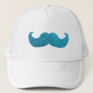 Blue Bling mustache  (Faux Glitter Graphic) Trucker Hat