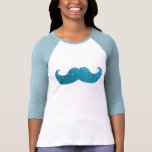 Blue Bling mustache  (Faux Glitter Graphic) Tshirts