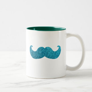 Blue Bling mustache  (Faux Glitter Graphic) Two-Tone Coffee Mug