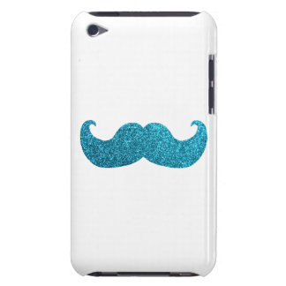 Blue Bling mustache  (Faux Glitter Graphic) white iPod Touch Cases