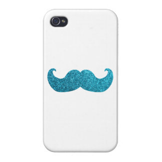 Blue Bling mustache  (Faux Glitter Graphic) white Cases For iPhone 4