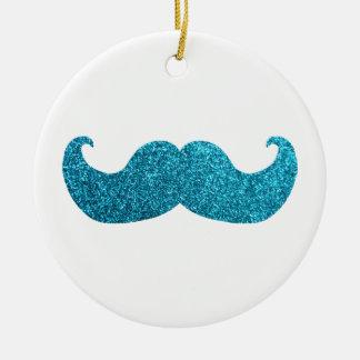 Blue Bling mustache  (Faux Glitter Graphic) white Ceramic Ornament