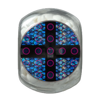 Blue Bling Purple Circle Abstract Glass Candy Jars