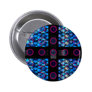 Blue Bling Purple Circle Abstract Pinback Button