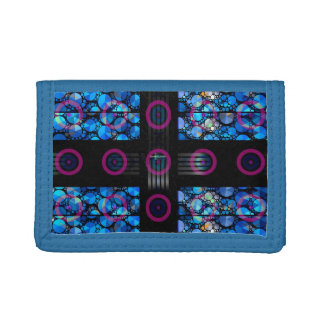 Blue Bling Purple Circle Abstract Trifold Wallets