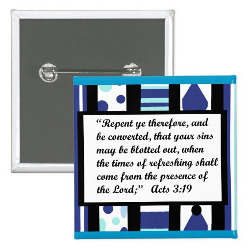 Blue bliss frame, Acts 3:19 button