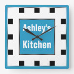 Blue Block Square Personalized Wall Clock
