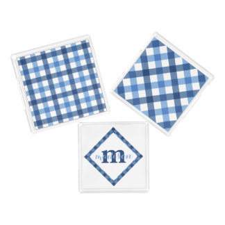 Blue blocks and gingham diamond monogram name serving tray