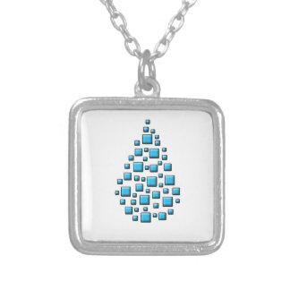 Blue Blocky Drop Square Pendant Necklace