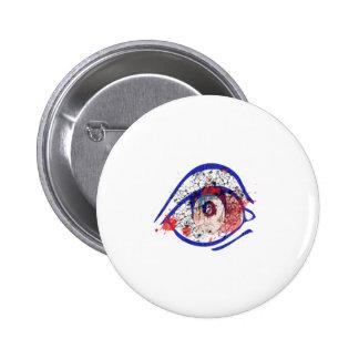 Blue Bloodshot Eye with Cracks 2 Inch Round Button